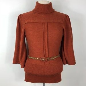 Tracy Reece Belted Merino Wool Turtleneck Sweater